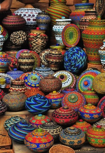 Colorful Beaded Pots