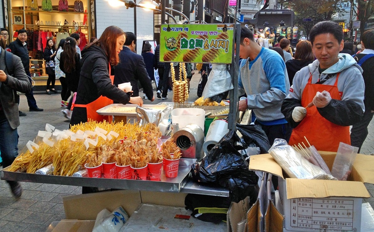 Food Stall in Myeongdong Seoul.