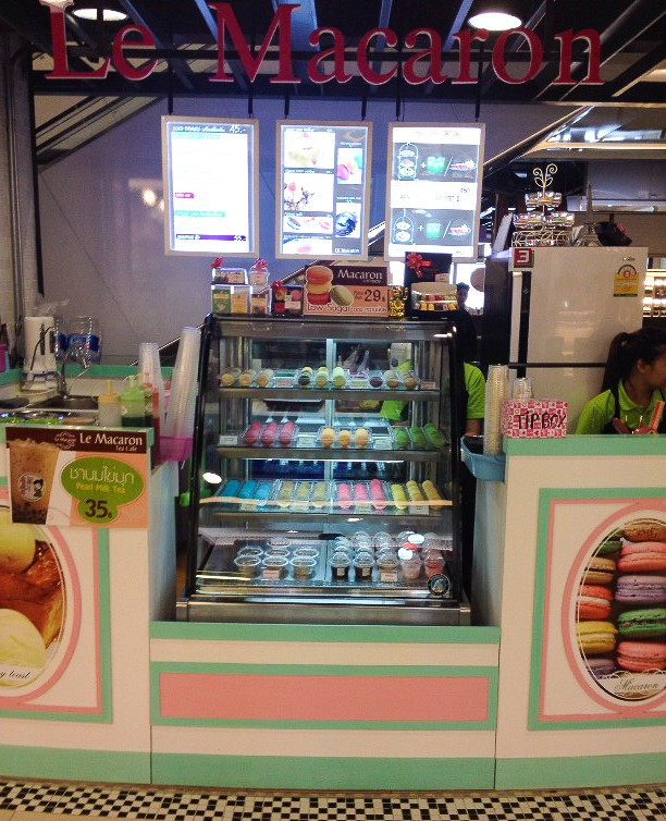 Trendy macaroons for sale at the Maya Mall Food Court.