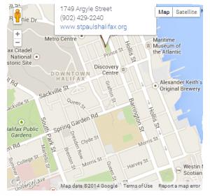 Location map for St. Paul's Church, Halifax, Nova Scotia