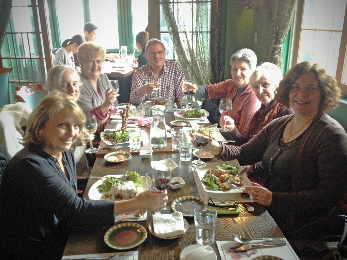 Our happy and well fed expat group.