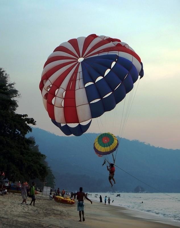 Paragliding on Batu Ferranghi Beach, Penang