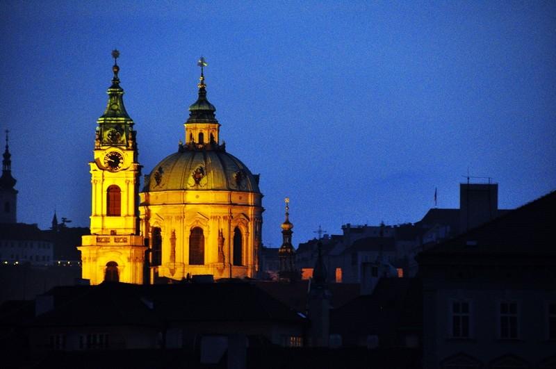 St Nicholas Church from the Vitava riverbank, Prague