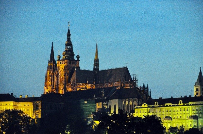 Prague Castle from the banks of the Vitava.